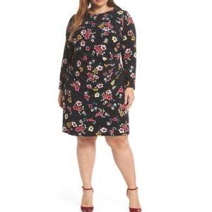 Eliza J long sleeve black floral dress